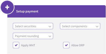 Payment setup options