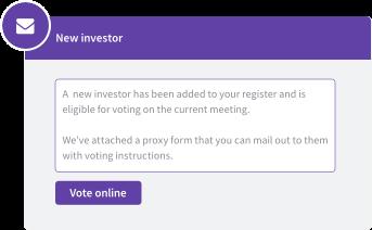 New investor notification